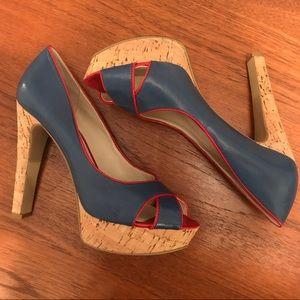 Nine West Blue heals w/red details and cork